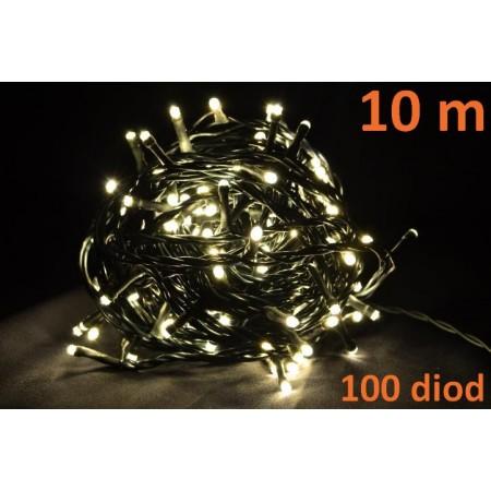 Vánoční řetěz interiérový, 100 LED, teple bílá, 10m
