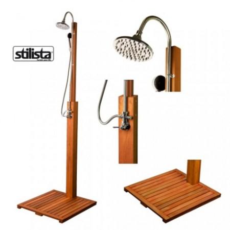 Designová zahradní sprcha, dřevo Shorea, 207 cm