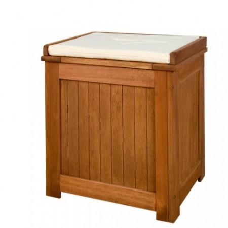 Dřevěný zahradní box s polstrovaným víkem, dřevo Shorea