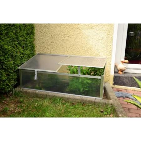 Polykarbonátové zahradní pařniště, 2 větrací okna, 108x55x48 cm