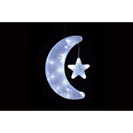 Dekorace do okna- svítící měsíc s hvězdou na baterie, 10 LED diod