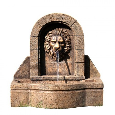 Dekorativní zahradní kašna s tekoucí vodou - lví hlava