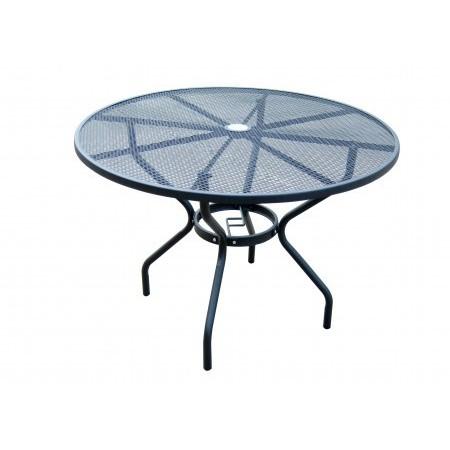 Kulatý zahradní kovový stůl, drátěná horní deska