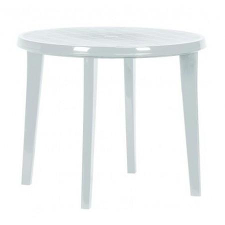 Kruhový plastový stůl, otvor pro slunečník, bílý