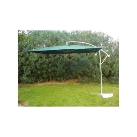 Čtvercový slunečník s boční nohou 2,7 x 2,7 m, otevírání kličkou, zelený