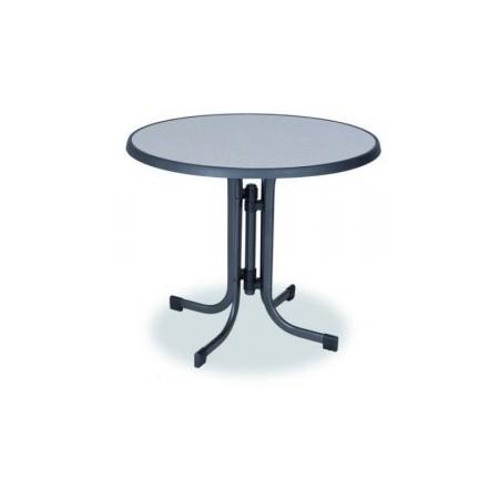 Kovový stůl s deskou ze sevelitu, průměr 85 cm