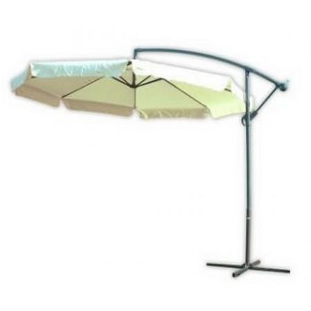 Elegantní zahradní slunečník s boční nohou 3 m, vč. podstavce, béžový