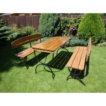 Set zahradního dřevěného nábytku s kovovou kostrou