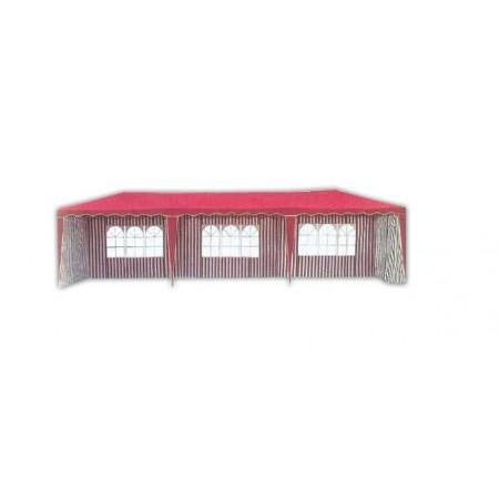 Velký zahradní stan 3x9 m, 8 bočních stěn, červený