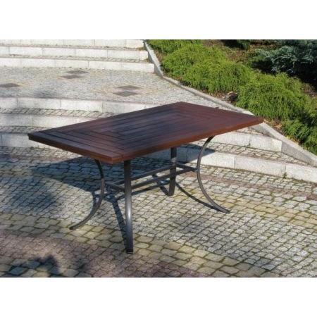 Zahradní stůl s dřevěnou deskou - Thermowood, kovový rám