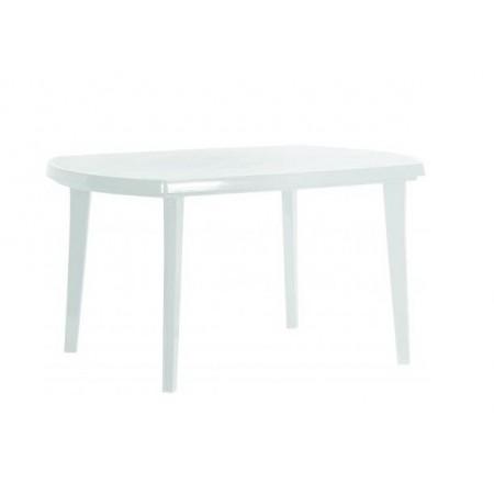 Obdélníkový plastový zahradní stůl, bílý