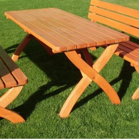 Obdélníkový zahradní stůl ze dřeva, masiv - borovicové dřevo