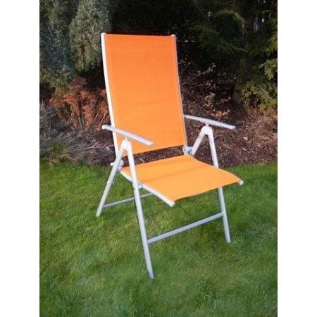 Zahradní kovové křeslo s textilním výpletem - oranžové