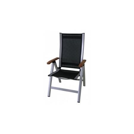 Moderní křeslo s hliníkovým rámem, dřevěné područky