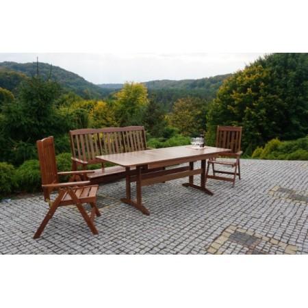Zahradní dřevěná lavice z masivu - lakovaná borovice, tmavě hnědá