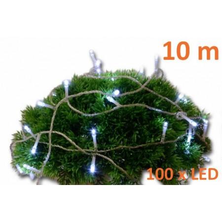 Vánoční světelný řetěz, studeně bílý, 100 LED, 10 m