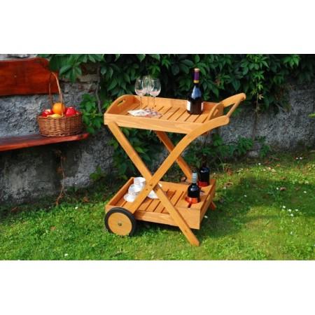Venkovní servírovací stolek s kolečky - impregnovaná borovice