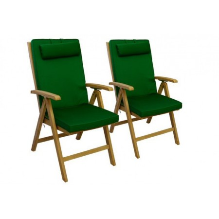 2 ks extra vysoké polstrování na zahradní židle, pratelný potah, zelené