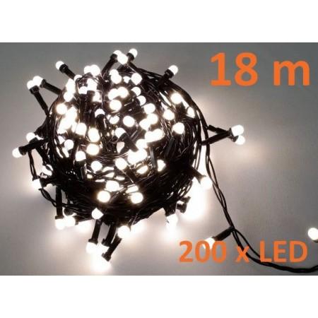 Vánoční LED osvětlení venkovní / vnitřní, teple bílé, 200 diod, 18m