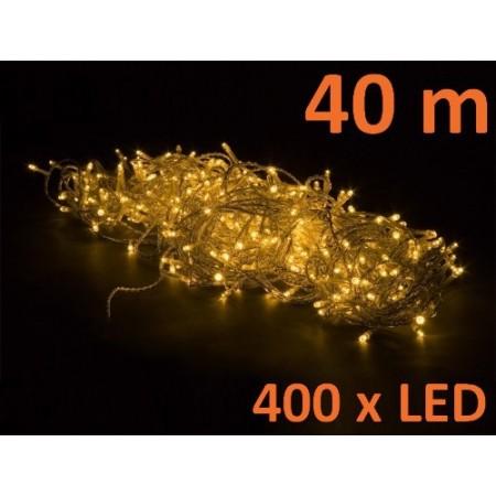 Světelný LED řetěz venkovní / vnitřní, teple bílá, 400 LED, 40 m