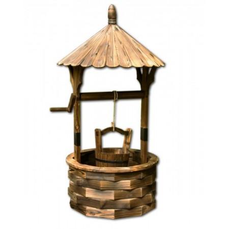 Dekorativní zahradní dřevěná studna 120 cm