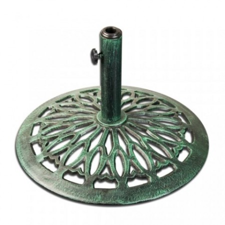 Okrasný kovový stojan na slunečník 17 kg, zelená patina