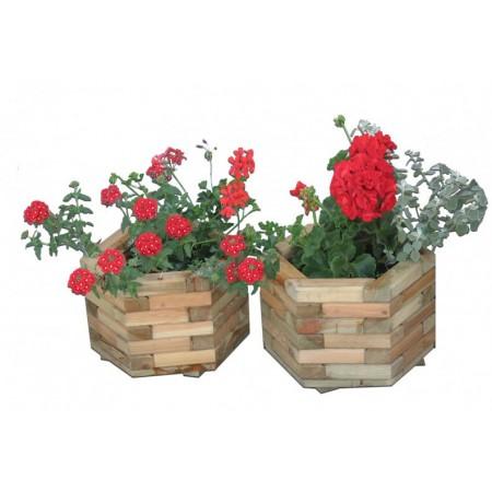Zahradní dekorativní květináč ze dřeva - 6 úhelníkový, 37 x 23 cm