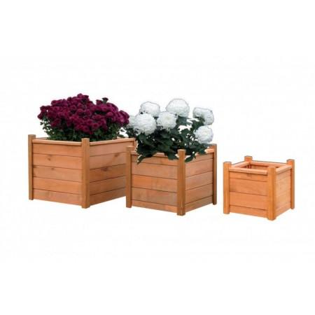 Dřevěný zahradní květináč, mořená borovice, 30x30x31 cm
