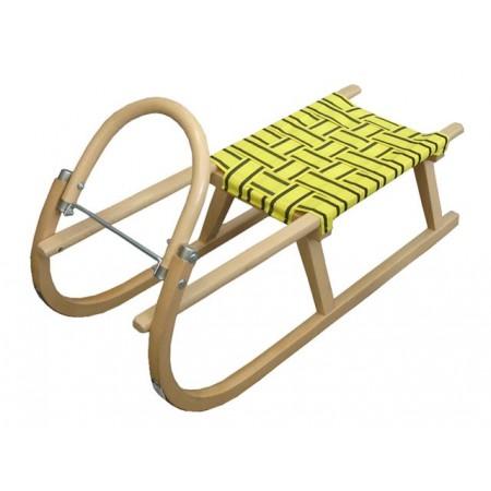Dětské dřevěné sáňky, textilní sedák, 95 cm