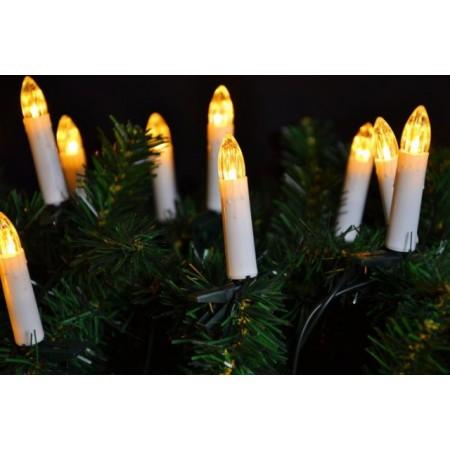 Klasické svíčky na vánoční strom - teple bílá
