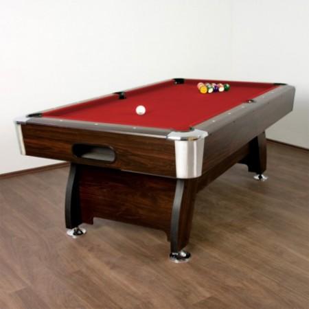 Velký kulečníkový stůl 7 ft, červený potah, centrální vracení koulí