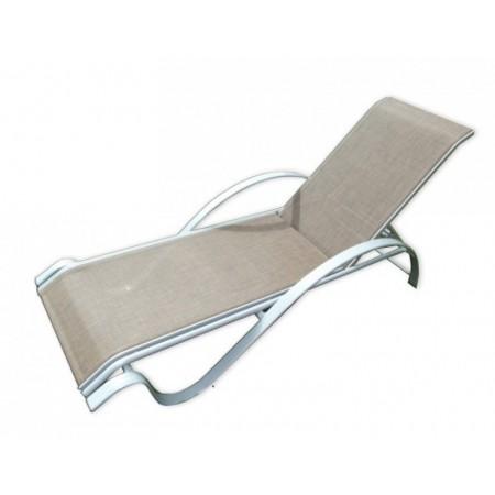 Elegantní relaxační kovové lehátko s textilním výpletem