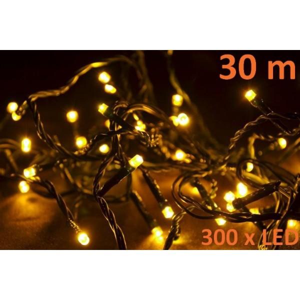 Vánoční řetěz z LED diod venkovní / vnitřní, teple bílá, 30 m