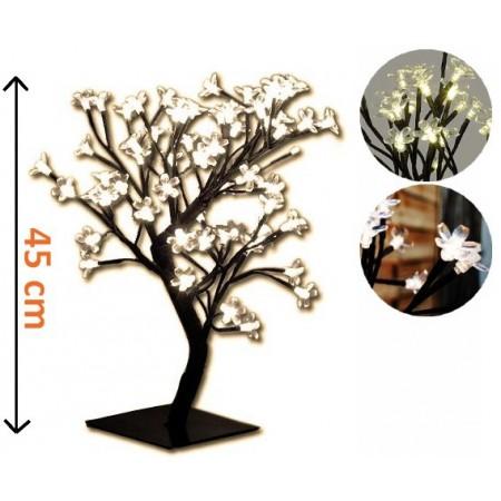 Svítící dekorace do bytu - strom s květy, 64 LED diod, 45 cm