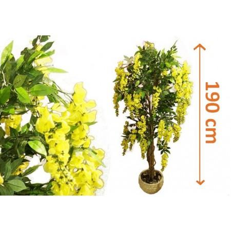 Umělá květina jako živá - Zlatý déšť s květy 190 cm