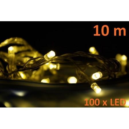 Světelný LED řetěz venkovní / vnitřní, teple bílá, 100 diod, 10 m