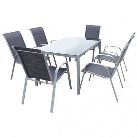 Set moderního zahradního nábytku, stohovatelné židle