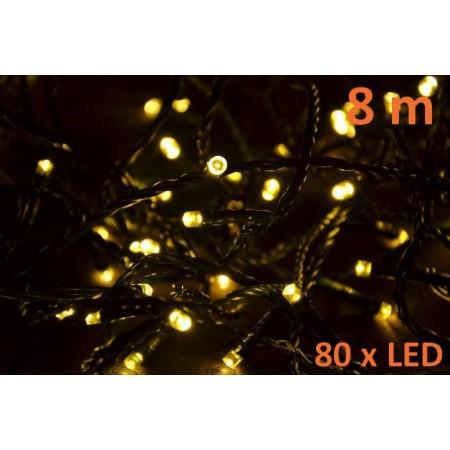 Vánoční LED řetěz venkovní / vnitřní, teple bílá, 8 m
