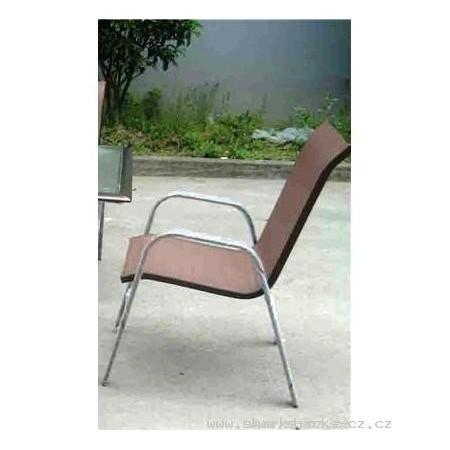 Zahradní židle s chromovanou kostrou, textilní výplet, hnědá