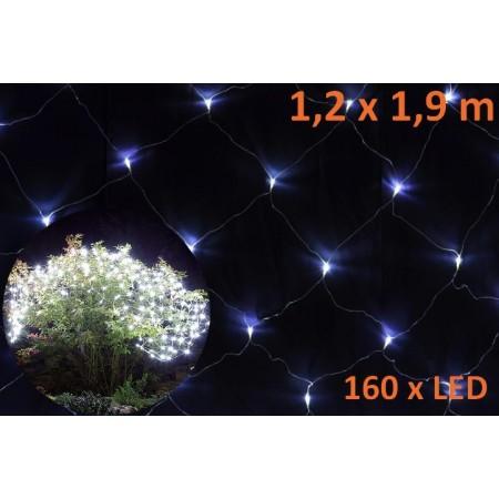 Vánoční světelná síť - závěs z LED diod, studeně bílá, 1,2x1,9m