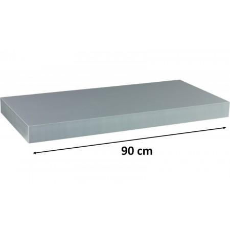 Moderní nástěnná police 90 cm, stříbrná