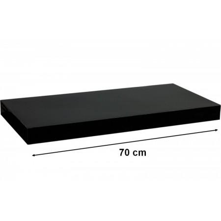 Moderní nástěnná police, lesklá černá, 70 cm