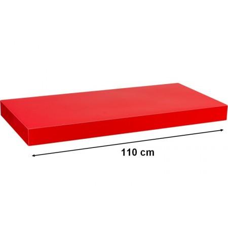 Moderní nástěnná police, lesklá červená, 110 cm