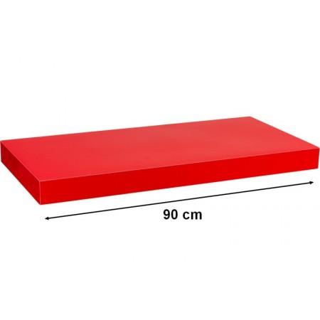 Moderní nástěnná police, lesklá červená, 90 cm