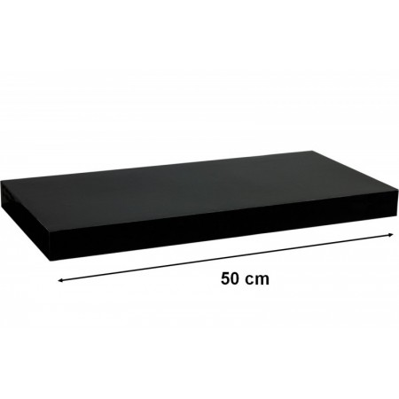 Moderní nástěnná police, lesklá černá, 50 cm