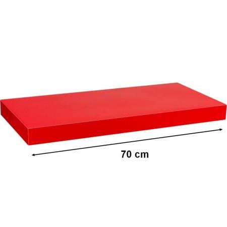 Moderní nástěnná police, lesklá červená, 70 cm