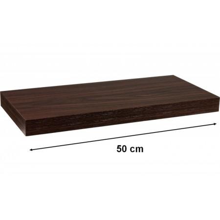 Nástěnná police STILISTA VOLATO - tmavé dřevo 50 cm