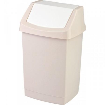 Klasický odpadkový koš s výklopným víkem, krémový, 15 l