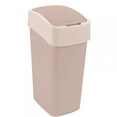 Vysoký odpadkový koš, 2 stupně otevření víka, krémový