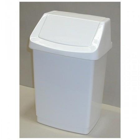 Klasický odpadkový koš s výklopným víkem 25 l, bílý